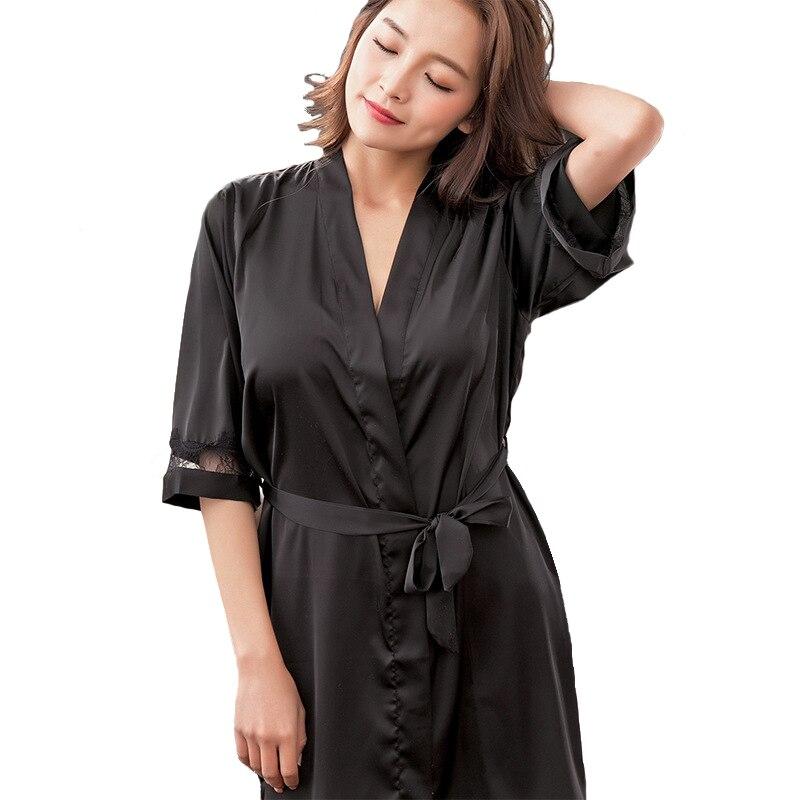 Black Sexy Ladies Kimono Bath Robe Summer Casual Nightgown Nightdress Ice Silk Home Dressing Gown Solid Sleepwear Negligee M-XXL