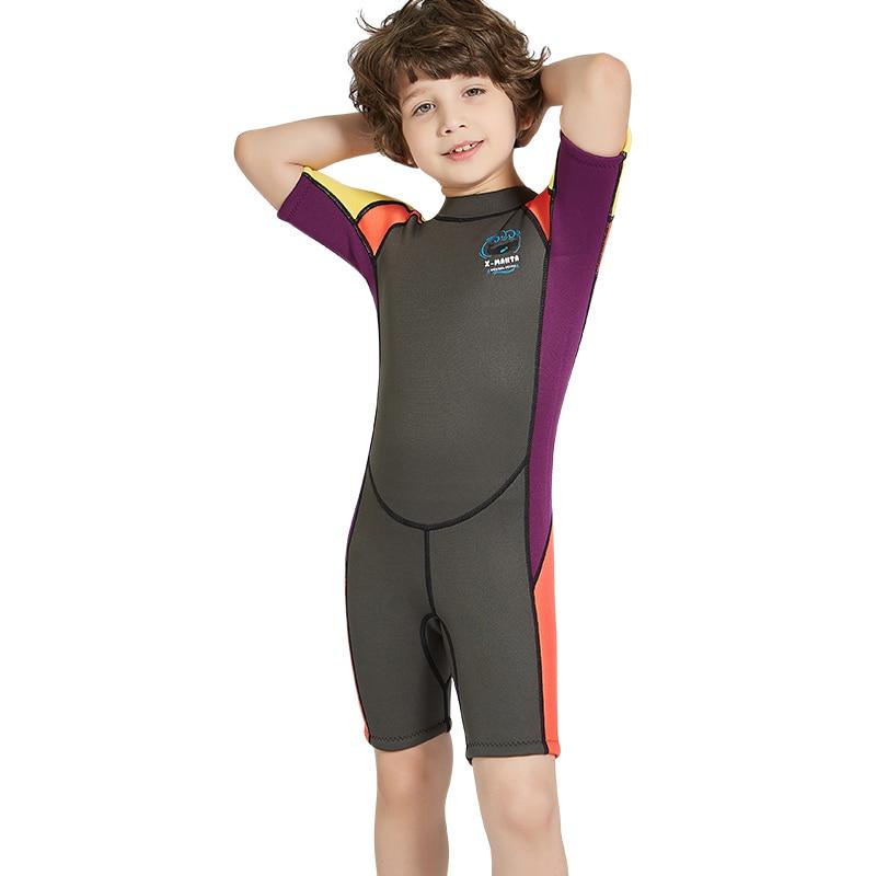 AILLOMA Diving Wetsuit Sunscreen Boys 2.5MM Snorkeling Surfing Swimwear Child Neoprene Jumpsuit Short Scuba Dive Jacket Suits