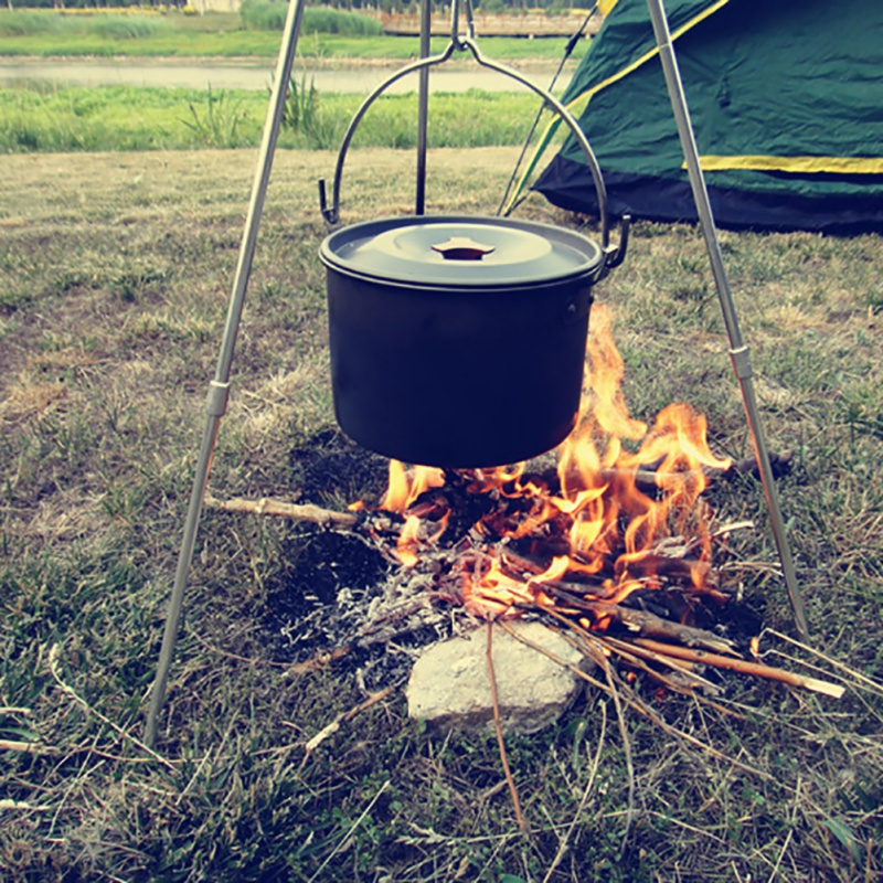 Tripod Cooker W// Grill Rack Camping Cooking Fire Adjustable Collapsible Steel