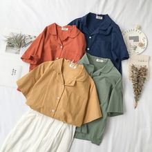 Woman Shirts Short Sleeve Solid Color Casual Ladies Tops and Blouses Cotton Linen Womens