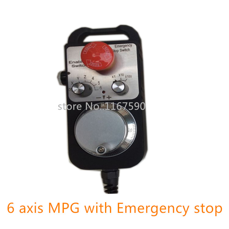 Free shipping Pendant Handwheel with Emergency Stop,6 axis manual pulse generator MPG for Siemens, MITSUBISHI, FANUC handy pulser mpg handwheel 4 axis 100ppr 5v 15v manual pulse generator use for fanuc fagor cnc system with cable
