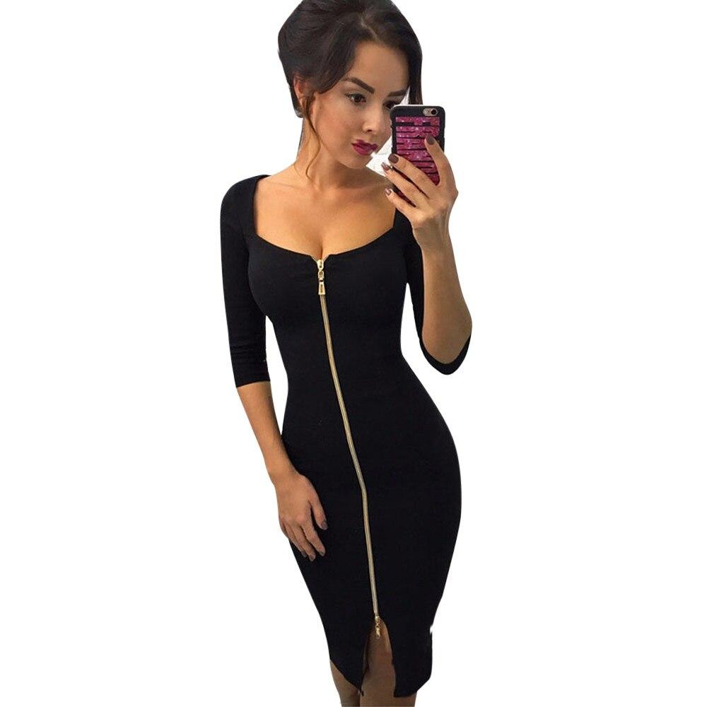 Herbst Kleid Vintage Weiblichen Reißverschluss Büro Vestidos De ...