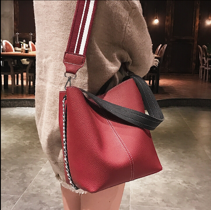где купить Fashion newest all-match bucket bag pu leather one shoulder women's handbag girl's cute bag vtuy8768 дешево