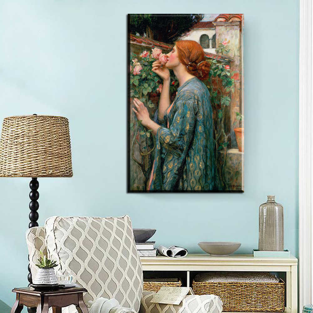 xdr343 Oil painting portrait My Sweet Rose by John William Waterhouse artwork Hand Prints art poster
