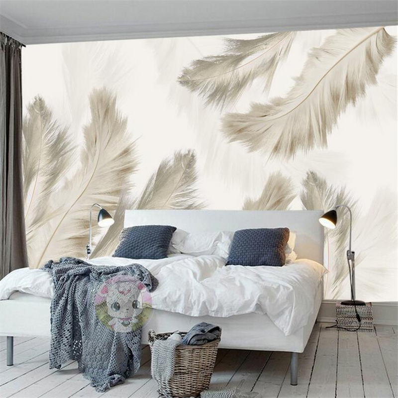 Custom 3d Wall Paper For Living Room Light Feather Modern Photo Wallpaper Environment Friendly TV Background Restaurant Bedroom wallpaper for walls 3 d modern trdimensional geometry 4d tv background wall paper roll silver gray wallpapers for living room