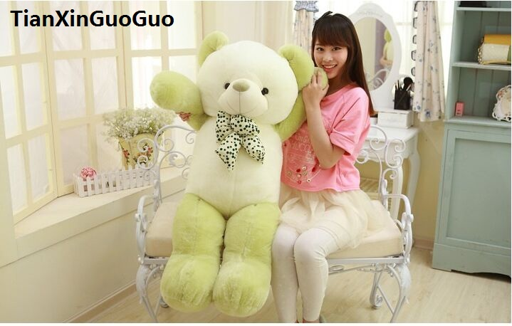 filled plush toy bowtie teddy bear large 120cm green bear plush toy soft doll throw pillow Christmas gift h1419 1pcs large size 120cm teddy bear plush toys bear 4 colors high quality kisd toys bear doll lovers christmas gifts birthday gift