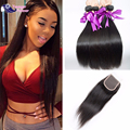 Straight Brazilian Hair With Closure Mink Brazilian Hair With Closure  Brazilian Virgin Human Hair Bundles with Closure