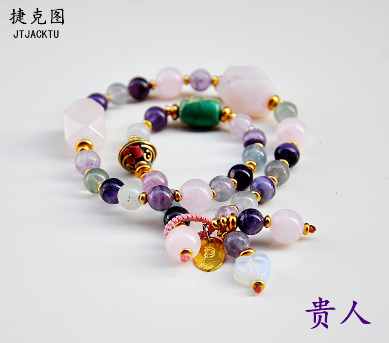 gold stone mix fluorite stone fashion handmade bracelet for woman