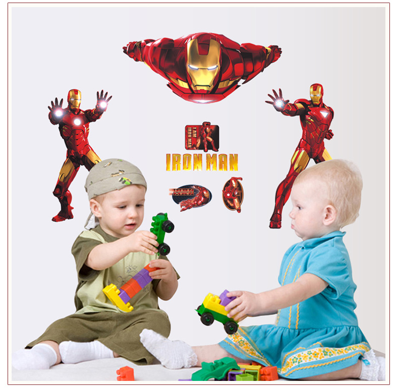 Iron Man super hero wall stickers kids room decor avengers diy home decals cartoon movie mural art poster  HCX081
