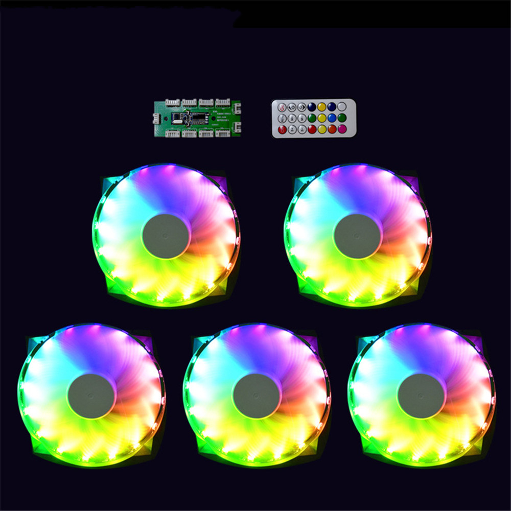 12cm 16 Lights Mute Cooling Fan 1200 RPM Air-Cold Cooler RGB LED Fan Set with Color Remote Control for Desktop PC Chassis