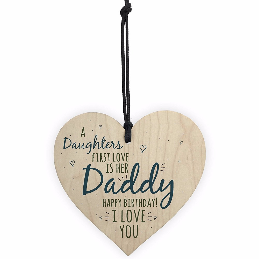 Meijiafei First Love Daddy Dad Wooden Heart Happy Birthday Card Gift Son Daughter Baby Thank You In Plaques Signs From Home Garden On Aliexpress
