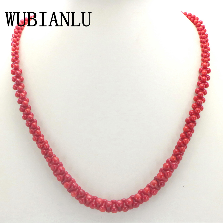 WUBIANLU 4 Colors Natural Coral Necklace Bone Shape Chokers Necklaces For Women Costume Jewelry Bead Fashion Girl Gift Wholesale все цены