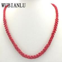 Wubianlu 4 색 자연 산호 목걸이 뼈 모양 chokers 목걸이 여성 의상 보석 구슬 패션 소녀 선물 도매
