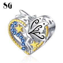 SG New Fit pandora Bracelet 100% 925 sterling silver Blue CZ Elf Design Heart Charms Cute Gold Star beads for Women Jewelry