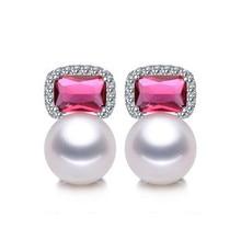 Women Gift word 925 Sterling silver real Pearl natural pearl earrings