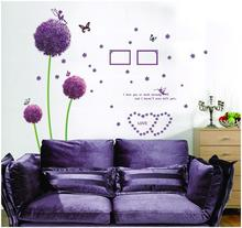 Purple Dandelion Wall Stickers Romance Decoration Wall Poster Home Decor flower wall decals