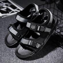 Летние мужские сандалии с ремешком вокруг лодыжки повседневные мужские дышащие сандалии на плоской подошве с пряжкой