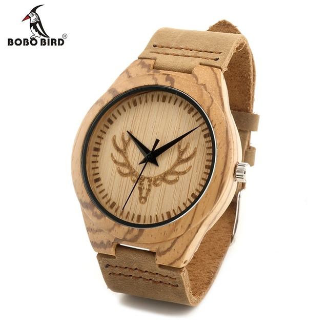 BOBO BIRD F28 Fashion Wooden Watch with Genuine Brown Leather Strap Naturally Bamboo Top Luxury Brand Quartz Watch With Gift Box