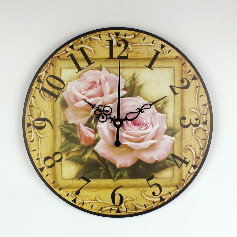 Beautiful Rose Flowers Wall Decoration Clock Watch Fashion Home ...