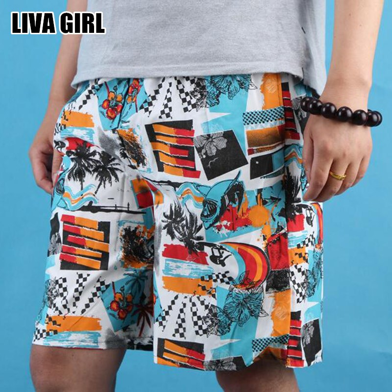 Liva Girl Hot Fresh Summer Men's Printed Board Shorts Polyester Causal Beach Boardshorts For Male Random Color One Size 2