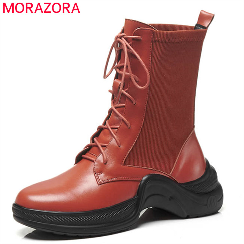 MORAZORA 2018 new fashion ankle boots for women lace up round toe autumn boots comfortable flat shoes woman punk boots female MORAZORA 2018 new fashion ankle boots for women lace up round toe autumn boots comfortable flat shoes woman punk boots female