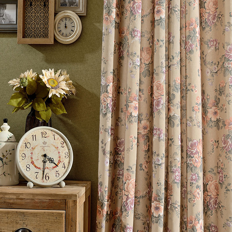 Vintage Pastorale Gordijn Ontwerp Polyester katoen Semi lichte ...
