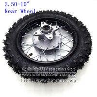 Rear 10 inch Black Steel Wheel 2.50 10 Tyres 28 Spoke Rims Drum Brake hub for CRF50 dirt pit bike motocross off road motorcycle