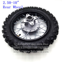 Rear 10 inch Black Steel Wheel 2.50 10 Tyres 28 Spoke Rims Drum Brake hub for CRF50 dirt pit bike motocross off road motorcycle