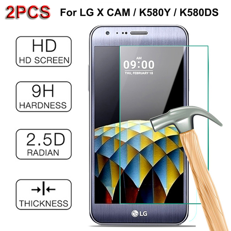 2PCS For LG X Cam Screen Protector Tempered Glass 9H Arc Protective Film For LG X CAM / K580Y / K580DS Dual SIM / F690S / F690L