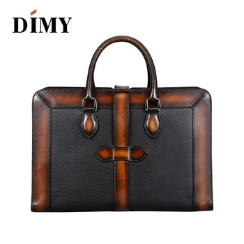 Italian Cow Leather Handbags Designer Business Briefcases For Men Shoulder Bags Large Capacity Vintage Patchwork Zipper Bag