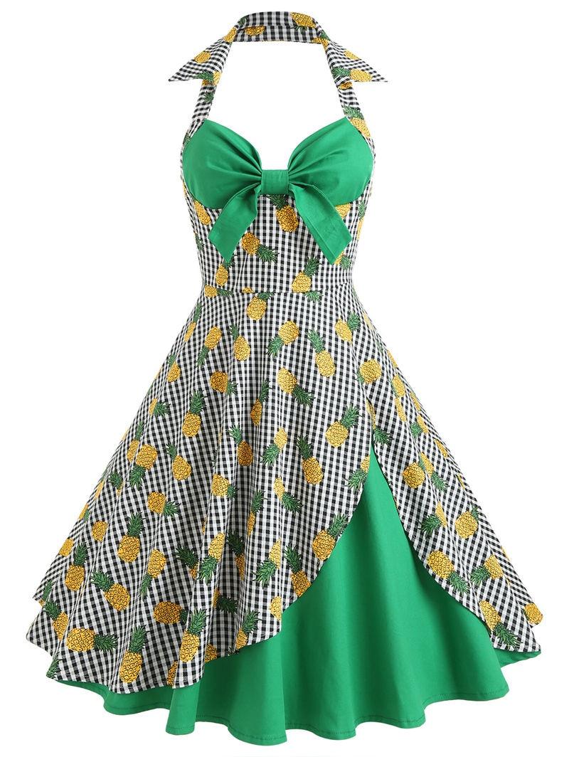 Summer 2018 New Women Summer Pineapple Print Vintage Halter Plaid Big Bowknot Hepburn Style Mid Hit Color Strapless Dress