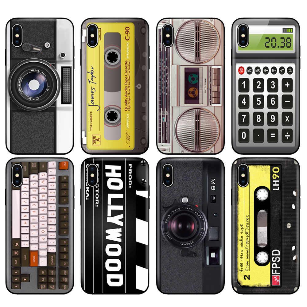 Noir tpu étui pour iphone 5 5s se 6 6s 7 8 plus x 10 XR XS 11 pro MAX étui en silicone couverture Cassettes Boombox Clavier