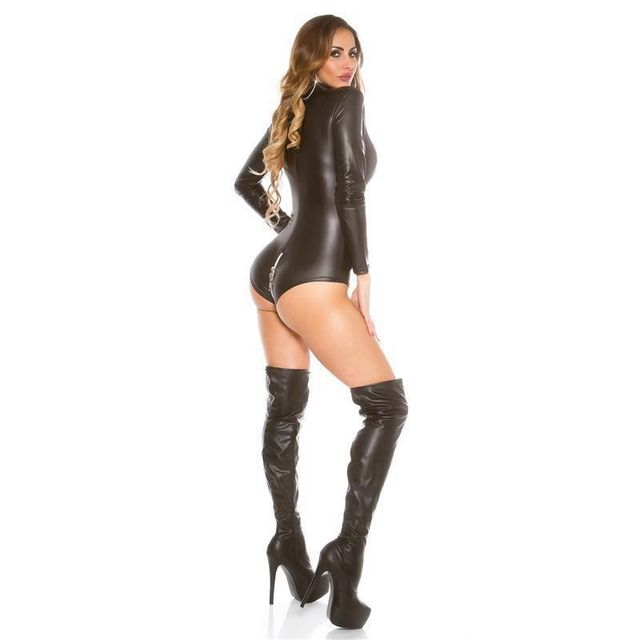 Catsuit Front Zipper PU Leather