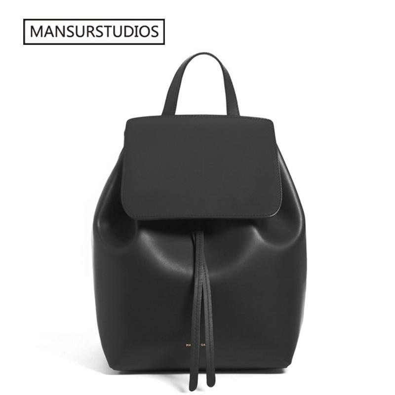 MANSURSTUDIOS  Women Leather Backpack  Mansur Lady Real  Leather Backpack, Gavriel Girl Leather Schoolbag.free Shipping
