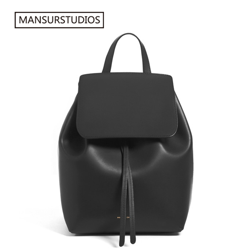 MANSURSTUDIOS  women leather backpack  mansur lady real  leather backpack, gavriel girl leather schoolbag.free shipping-in Backpacks from Luggage & Bags