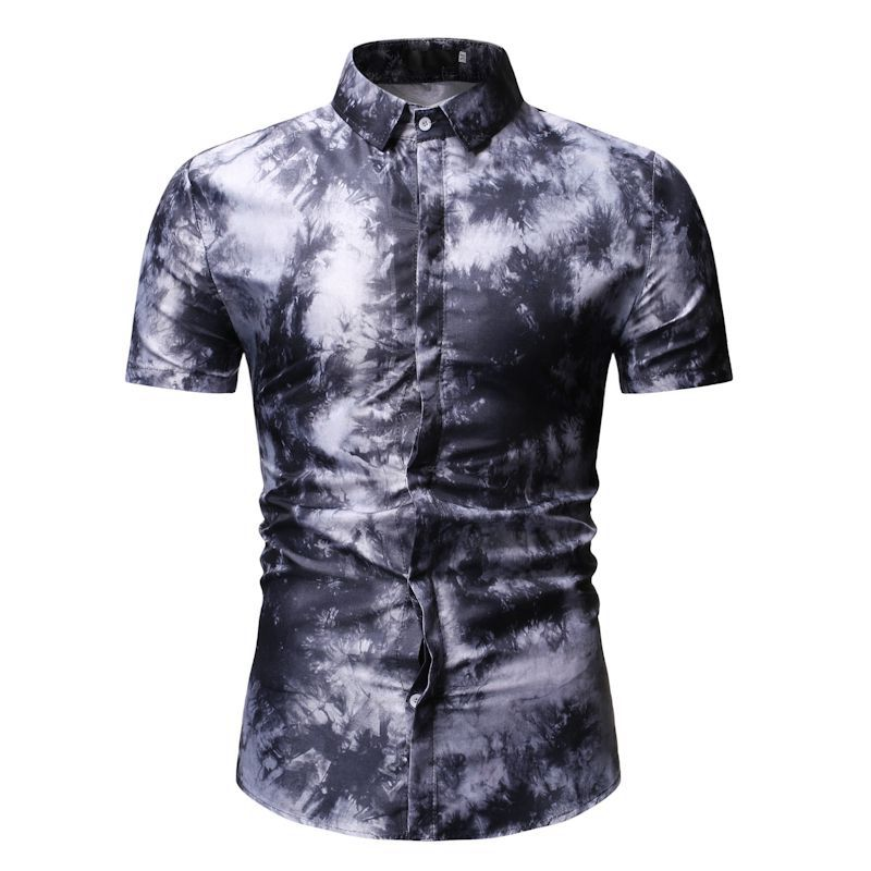 Flower Men Shirt Dress Short sleeve Turn down Collar Social Men Shirts Hawaiian Blouse Men 39 s Clothing Summer Black Red Blue in Casual Shirts from Men 39 s Clothing