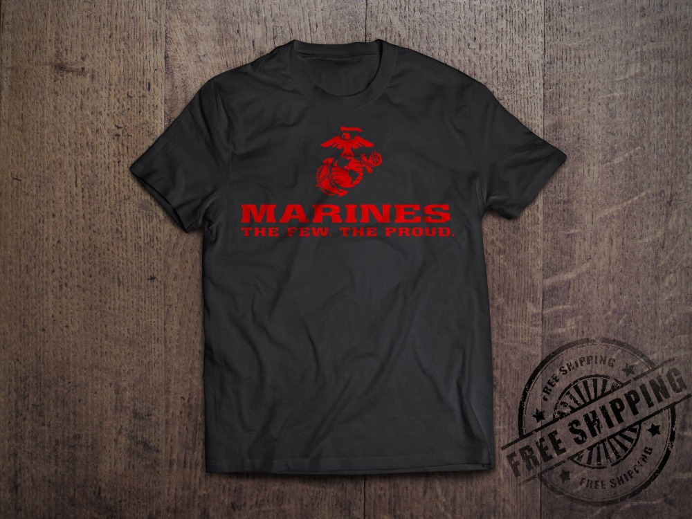 <font><b>Usmc</b></font> <font><b>T</b></font> <font><b>Shirt</b></font> The Few The Proud <font><b>Usmc</b></font> Tee Marine Corps New Cotton Leisure Fashion Brand Clothing Hip Hop Tops Man Casual <font><b>T</b></font>-<font><b>Shirt</b></font> image