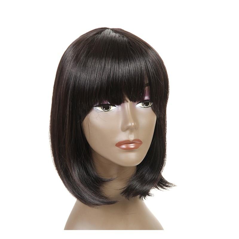 Feibin Bob Short Peruki z Bangs dla kobiet Synthetic Straight Black Hair 14inches