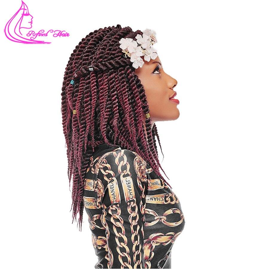 Refined Hair 12 18Inch Havana Mambo Twist Crochet Braids 12Roots Ombre kanakalon Synthetic Bohemia Braid Braiding Hair Weave
