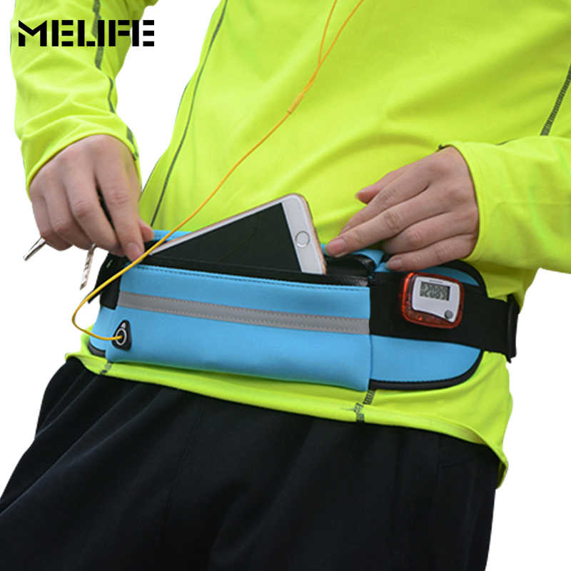 03d1b987f ... MELIFE Outdoor Running Waist Bags Waterproof For Mobile Phone Jogging  Belt Belly Bag Women Gym Fitness