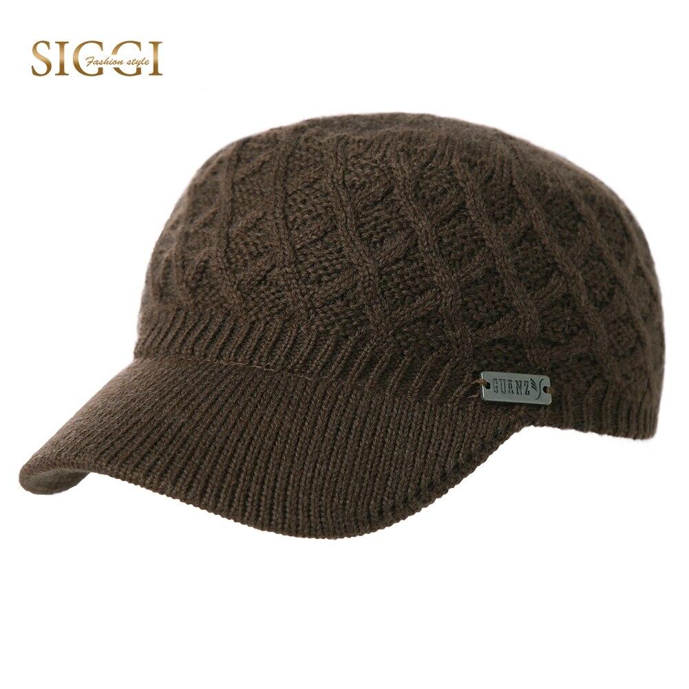 SIGGI Winter Autumn Warm Unisex Wool Knitted Military Hat For Men Women  Acrylic Brim Fleece Soft Chapeau Gorro Army Caps 69512 7123a8bdeba