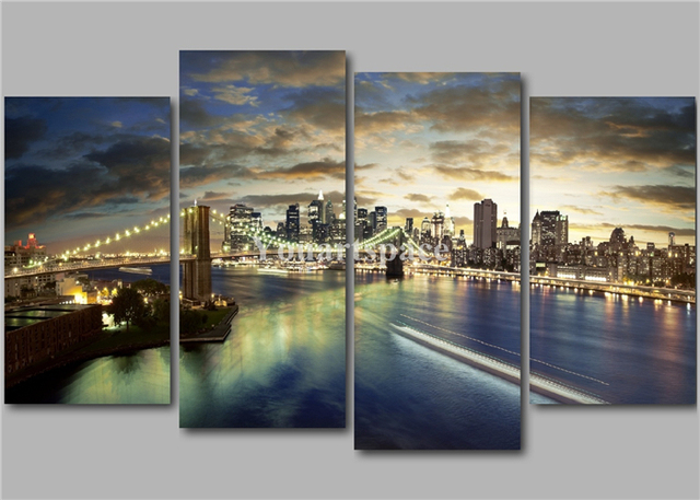 4 Panel Wall Art Pictures New York City Brown Brooklyn Bridge NY ...