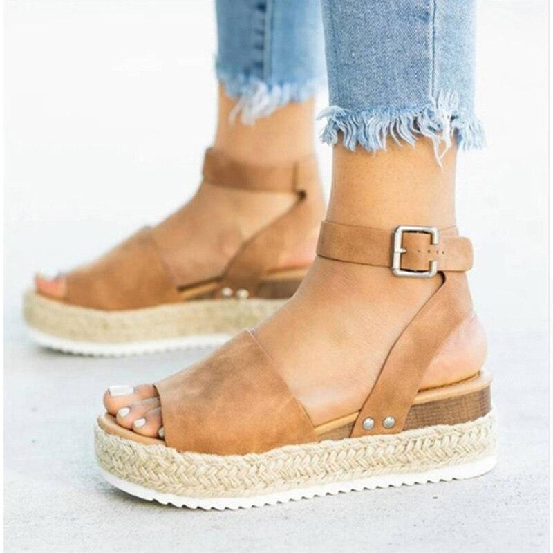 47672c820d Keile Schuhe Frauen Espadrilles High Heels Sandalen Sommer Schuhe 2019 Flip  Flop Chaussures Femme Plattform Sandalen