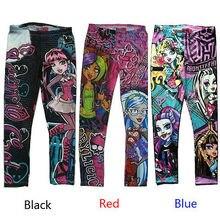 Детские леггинсы в стиле панк с высокой талией и принтом монстра для девочек обтягивающие узкие брюки с принтом 6, 8, 10, 12, 14