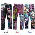 Estilo Punk Crianças Crianças Monstro Alta Cintura Leggings Meninas Magras Impressos Calças Lápis 6 8 10 12 14