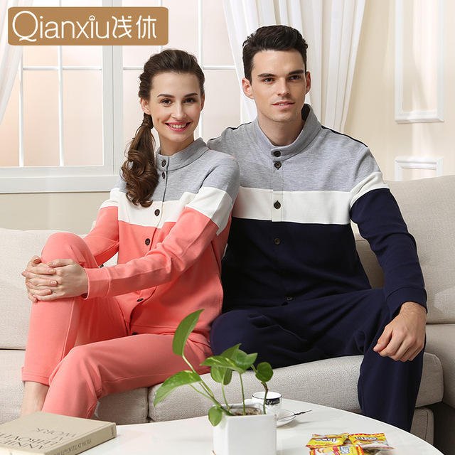 2016 Autumn New Long-Sleeved Thick Long-Sleeved Knit Cotton Pajamas Couple Of Men Can Wear Out Cardigan Tracksuit Qianxiu 1536