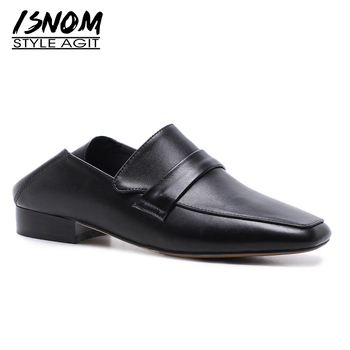 ISNOM 2019 New Spring Fashion Casual Women Flats Square Toe Footwear Genuine Leather Female Loafers Shoes Mules Shoes Woman