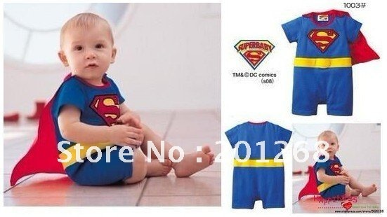 Free shipping Hot Sale Baby rompers Cotton Superman romper boys costumes 4 sets per lot