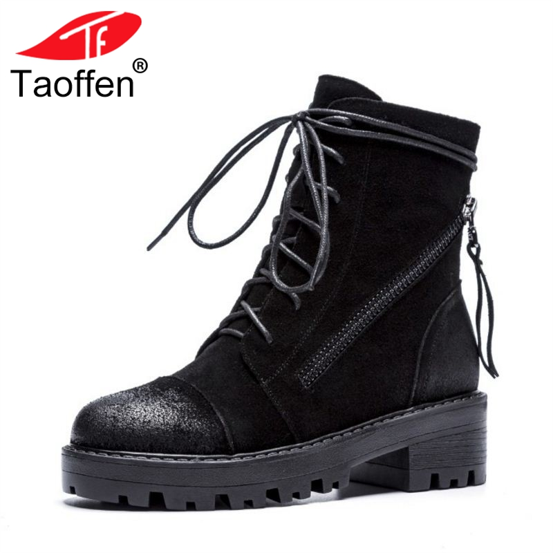 TAOFFEN Woman Ankle Boots Genuine Leather Women's Shoes Square Heel Women Boots Retro Fashion Shoes Woman Footwear Size 34-39 brand new woman real genuine leather square heel half short boots women retro square toe heeled shoes footwear size 34 39
