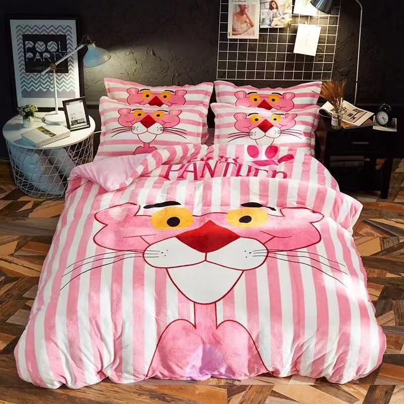 Coral Fleece Bedding Set  Flannel 2018 Spring high quality and simple solid bedding set fleece bed linen duvet